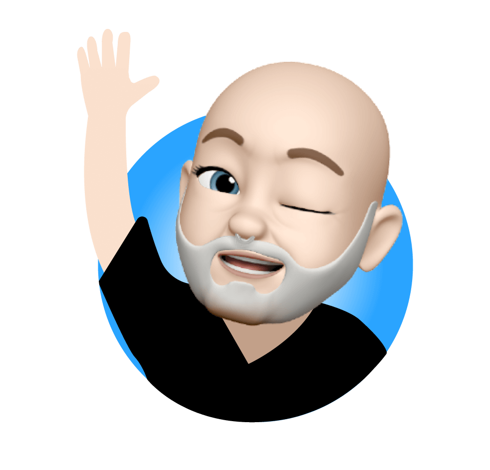 Memoji portrait of Knol Aust waving and winking