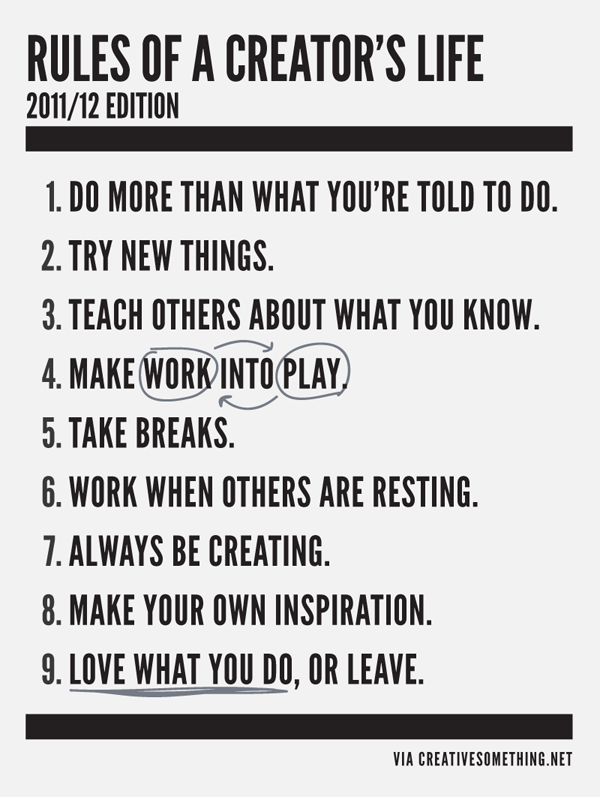 Rules of a Creatives LIfe