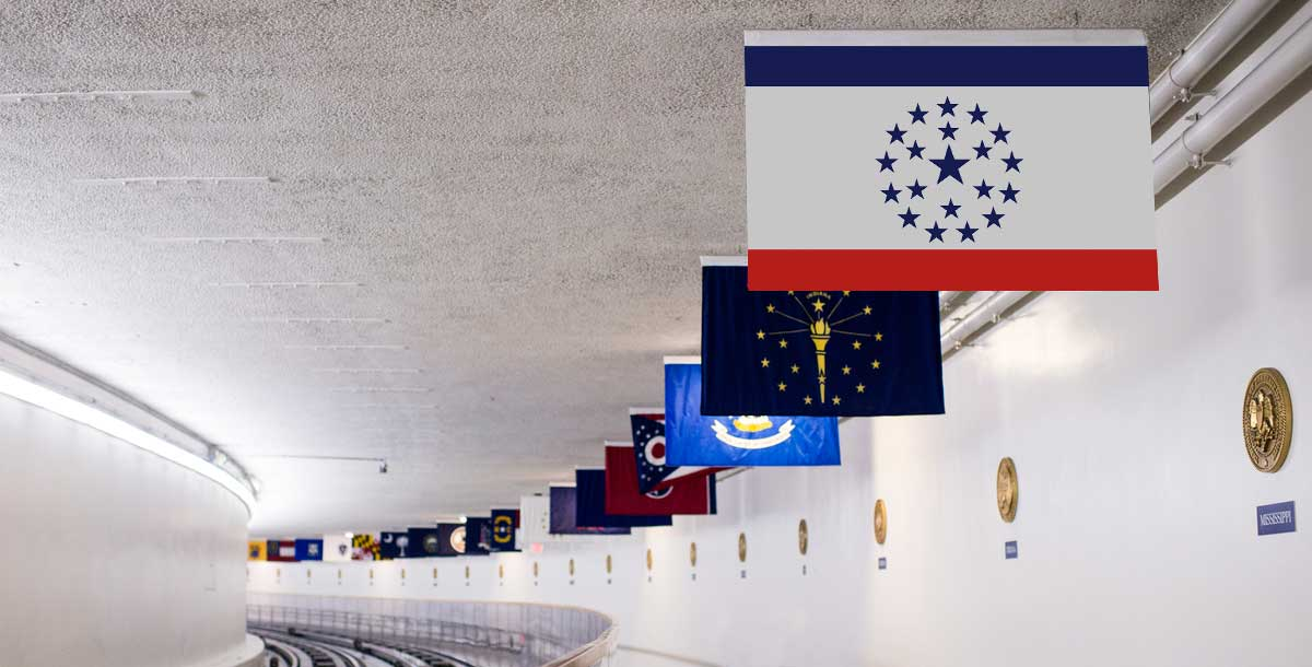 The Mississippi State Flag (proposed by Knol Aust) is seen hanging in the United States Capitol building