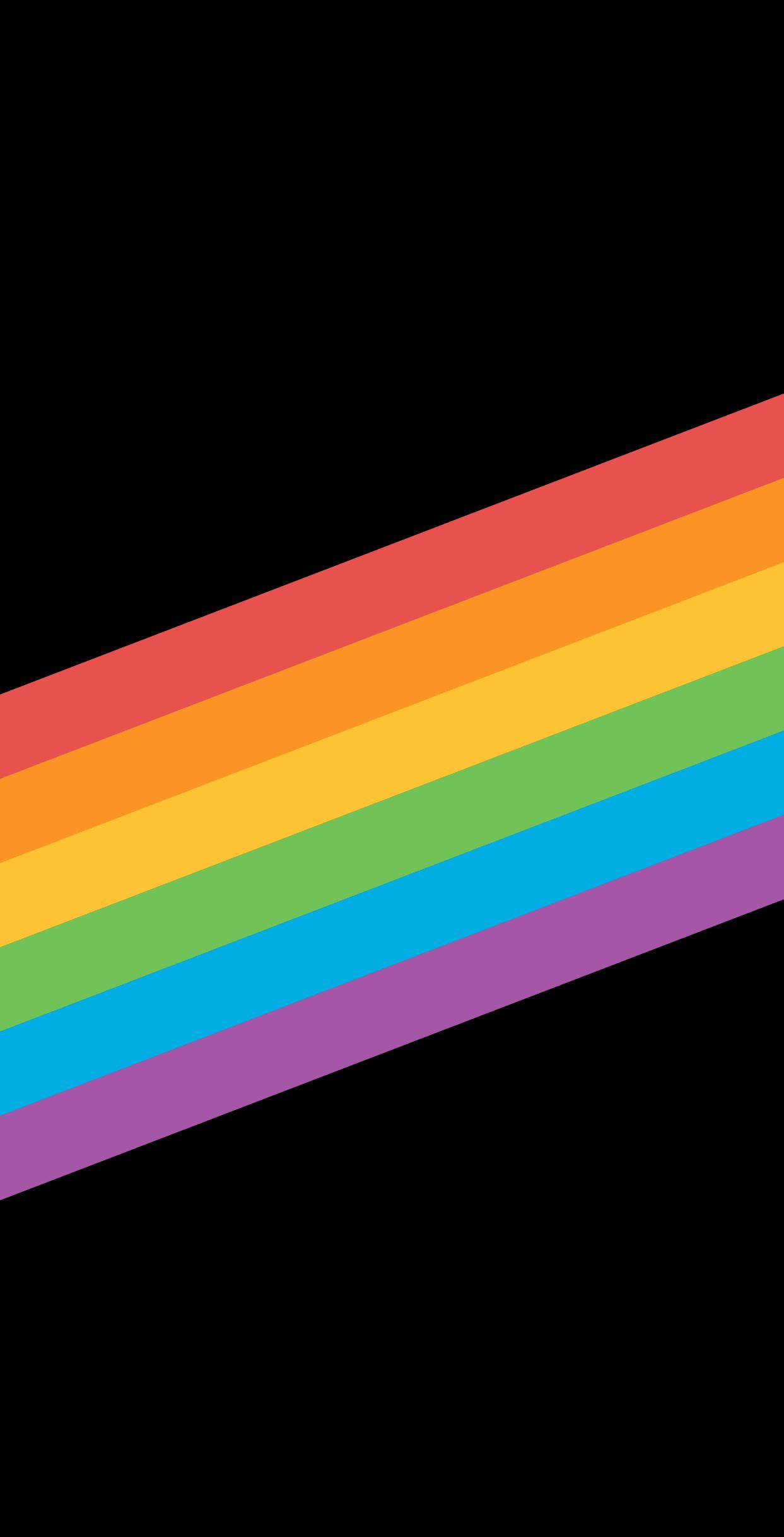 Rainbow flag design on black background